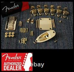 New Fender American Standard Hardtail Gold Stratocaster Hardware Set with Tuners