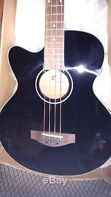 New Left Handed Electro Acoustic 4 String Bass Guitar, Jumbo Large Scale, Tuner