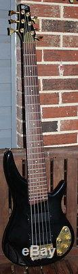 Nice Black Ibanez model SR406 6-string Bass with Grover tuners, gold trim