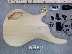 No-Solder Electric Bass Guitar DIY EB-302 Maple Neck, Free Digital Tuner, Picks#76