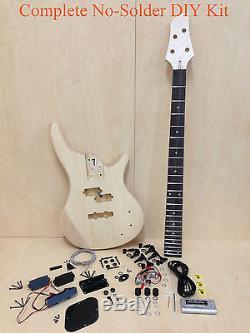 No-Solder Full Kit Electric Bass Guitar DIY EB-302DIY withFree Digital Tuner, Picks
