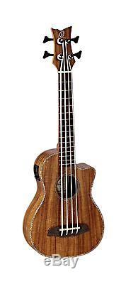 Ortega Guitars 4 String Caiman-BS-GB Lizard Series Uke-Bass Acacia Top & Body