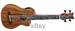 Ortega Guitars CAIMAN-BS-GB Lizard Series Uke-Bass Acacia Top & Body, Cutaway &
