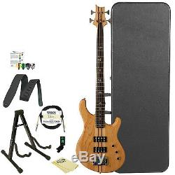 Paul Reed Smith PRS SE Kingfisher Bass Guitar Natural w Hard Case Stand Tuner