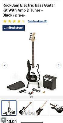 RockJam Electric Bass Guitar Kit With Amp & Tuner Black RRP £139.99