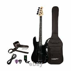 Sawtooth EP Series Electric Bass Guitar Gig Bag Accessories Bundle Satin Black