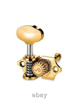 Schaller Germany 3x3 GOLD Grand Tune Tuners Tuning Keys with Butterbean Buttons