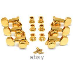 Schaller Polished Gold M6 Full Size LOCKING 3x3 Guitar Tuners TK-0976-002