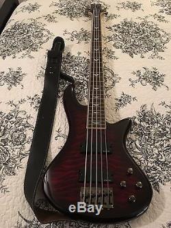 Schecter Guitar Stiletto Extreme-5 5-String Bass Black Cherry, Bag, Strap, Tuner