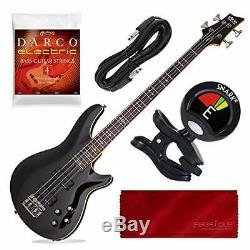 Schecter OMEN-4 4-String Bass Guitar, Gloss Black with Tuner and Accessory Bundl