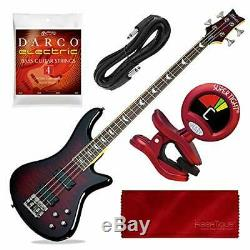 Schecter Stiletto Extreme-4 Bass Guitar (4 String, Black Cherry) with Tuner and