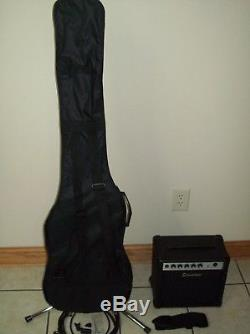 Silvertone Bass Guitar with SB10 Amp, Cord, Strap, STUN3 Clip on Tuner. Wrench, Pick