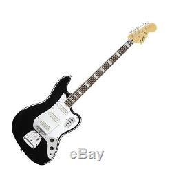 Squier (030-5600-506) Vintage Modified VI Black Bass Bundle withBag and Tuner