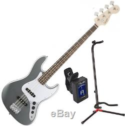 Squier 0310760581 AFFINITY J BASS RW SLICK SILVER with Stand and Tuner