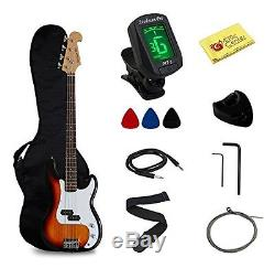 Stedman Pro Full Size Electric Bass Guitar with Gig Bag, Chromatic Tuner, Cable