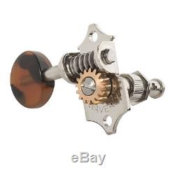 Waverly Guitar Tuners with Dark Tortoise Knobs for Solid Pegheads, Nickel, 3L/3R