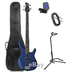 Yamaha TRBX174 Bass Guitar, Deluxe Padded Bag, Tuner, Stand, Cable-Metallic Blue