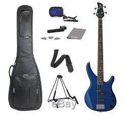 Yamaha TRBX174DBM Bass Guitar FREE Deluxe Bag, Tuner & Accessories Metallic Blue