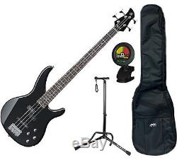 Yamaha TRBX204GLB Galaxy Black 4-String Bundle with Tuner, Bag and Stand