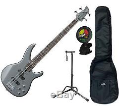 Yamaha TRBX204GRM Gray Metallic 4-String Bundle with Tuner, Bag and Stand