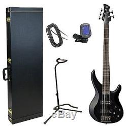 Yamaha TRBX305 Black 5-String Bass Guitar Gold Pack with Case, Stand, Tuner, Cable